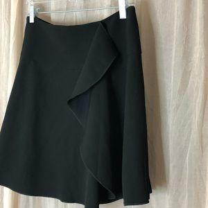 Loft size 8 black ruffled side dress skirt